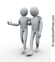 3d people friends - 3d illustration of man walking with his...