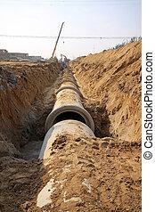 sotterraneo, conduttura, costruzione, drenaggio