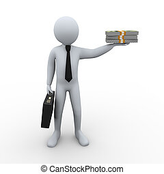 3d businessman and money - 3d Illustration of man with...