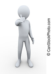 3d man thumbs up - 3d illustration of person giving thumbs...