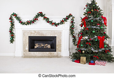 Gas Insert Fireplace in Use during Holidays - Natural Gas...
