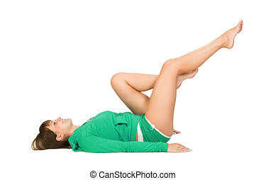 Fitness - attractive young woman doing some exercises