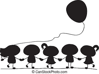 silhouettes children with balloon