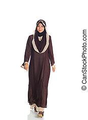 bonito, muçulmano, mulher, modelo, Passarela,...