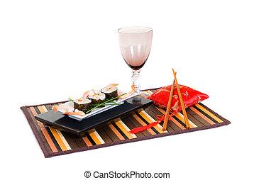 Sushi, sashimi - Plate with traditional Japanese sushi,...