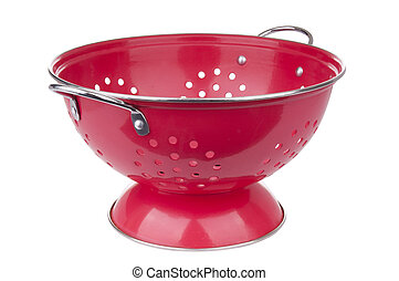 Colander - Red colander in full focus isolated on white