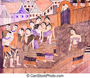 Thai mural painting depicts the way of life of Nan people in...