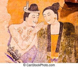 Thai mural painting - The famous mural painting of a man...