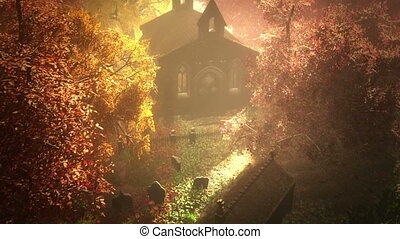 Cemetery Autumn 5 - Cemetery Autumn 3D render