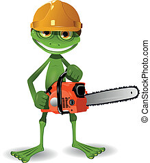 Frog with a chainsaw - Green frog in a helmet with a...