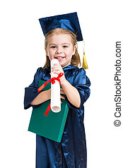Little girl kid in academician clothes with book - Little...