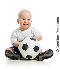 adorable baby with ball over white background - adorable...