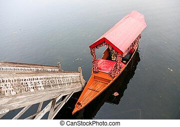shikara boat in nageen lake, srinagar, kashmir, india
