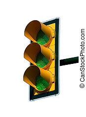 Green trafic light - Green traffic light on blue sky