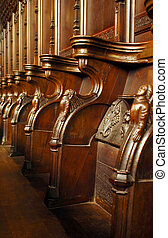 choir stalls - ornate elizabethan carved wooden choir stalls