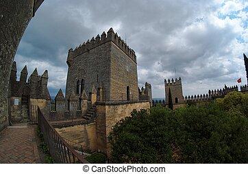 fisheye, vista, Almodovar, del, Rio, medieval, castelo,...