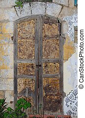 Closed door of an old house