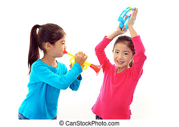 Girls wiht musical instrument - Smiling girls girls wiht...