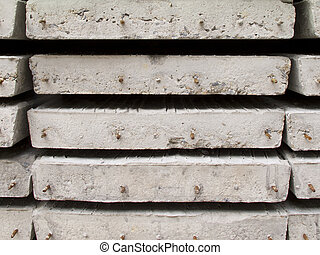 Stack of concrete building slab - Side view of stack of...