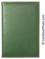 green leather notebook isolated on white with clipping path