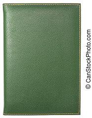 verde, couro, caderno, isolado, branca, Cortando, caminho