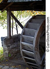 Traditional wooden waterwheel - A traditional waterwheel...