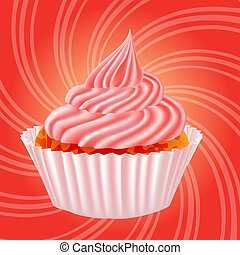 illustration of cake with cream on a pink background