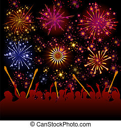 Fireworks vector - Illustration of firework show above the...