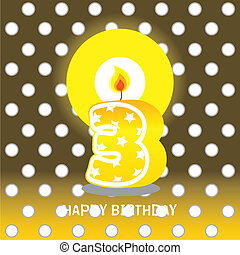 third birthday with candle - birthday card, third birthday...