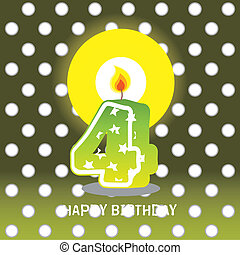 fourth birthday with candle - birthday card, fourth birthday...