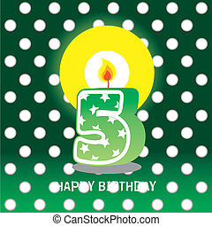 fifth birthday with candle - birthday card, fifth birthday...