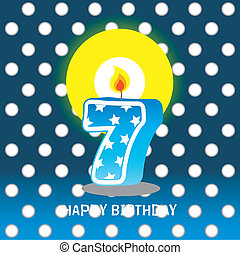 seventh birthday with candle - birthday card, seventh...