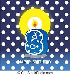 eighth birthday with candle - birthday card, eighth birthday...