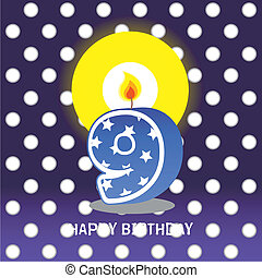 ninth birthday with candle - birthday card, ninth birthday...