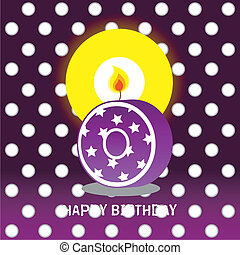 zeroth birthday with candle - birthday card, zeroth birthday...