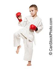 niño, niño, kimono, entrenamiento, karate