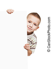 Child holding blank placard - Little smiling child boy...