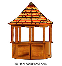 of a wooden gazebo on white - illustration of a wooden...