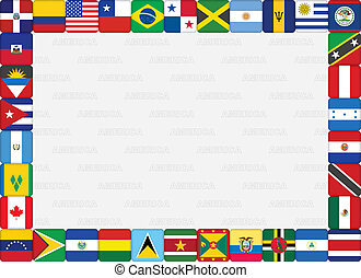 American countries flag icons frame - background with...