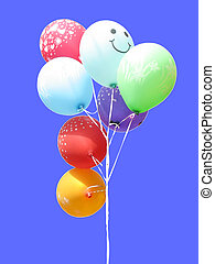 Bunch of colored party balloons isolated over blue