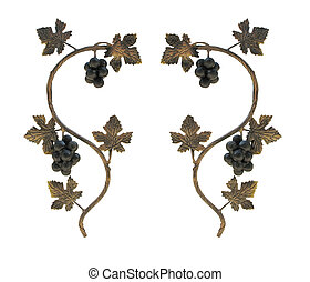 Metallic grape leaves and cluster ornaments isolated over...