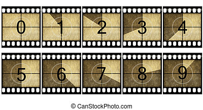 Detailed film countdown numbers on a  white background