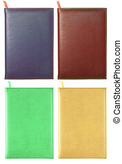 set of leather notebook isolated on white with clipping path