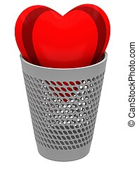 Red heart in a wastebasket on a white background