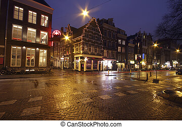 Streetview in Amsterdam the Netherlands by night