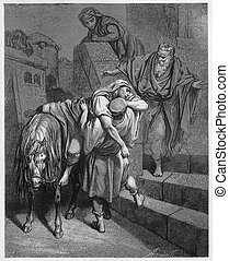 Arrival of the Good Samaritan at the Inn - Picture from The...