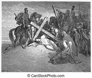 Jesus Falls with the Cross - Picture from The Holy...
