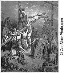The Cross Is Lifted Up - Picture from The Holy Scriptures,...