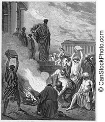 Paul Preaches at Ephesus - Picture from The Holy Scriptures,...