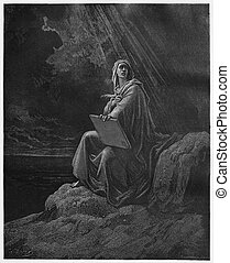 John on Patmos - Picture from The Holy Scriptures, Old and...